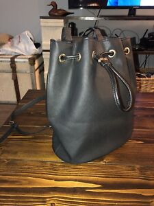 Faux leather black fashion backpack