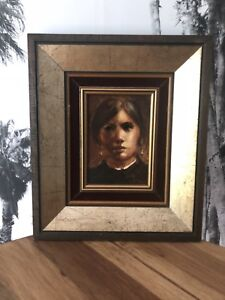 """Antique Old 5x7"""" Wall Art Woman's Face 11x13"""" Frame"""