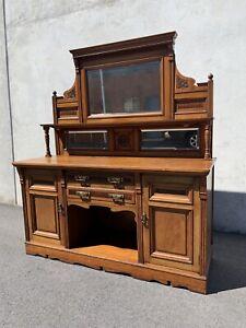 Antique Victorian Walnut ornate bevel mirror sideboard buffet C1880 Carlisle Victoria Park Area Preview