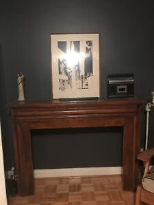 Art Deco wood fireplace mantle