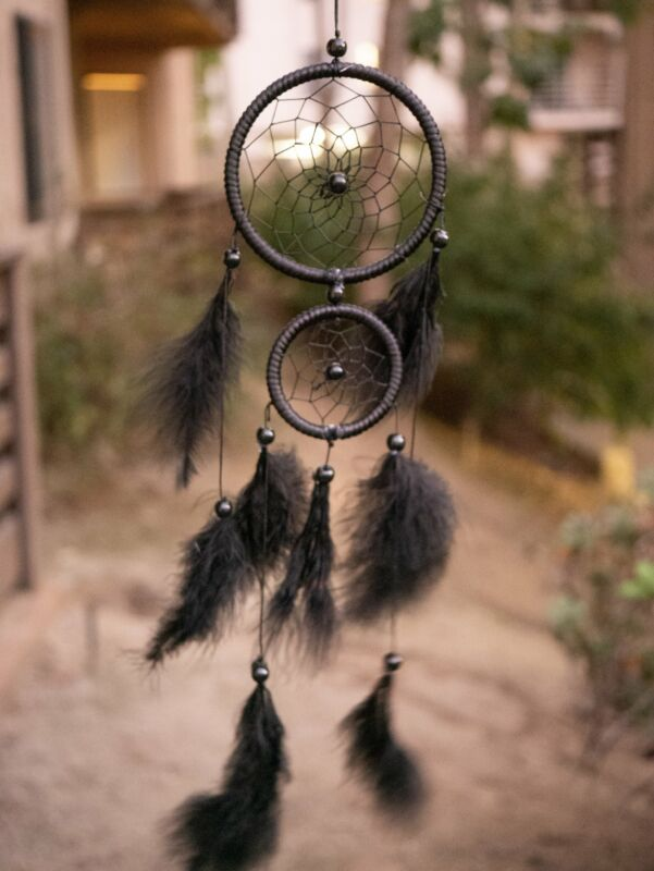 Noctis Midnight Black Native American Dreamcatcher Double Hooped with Downy Feat