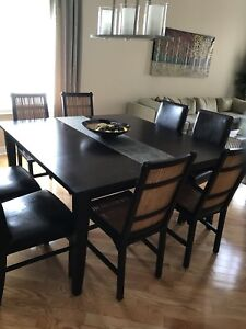 Large, solid wood table with two leaves - espresso finish