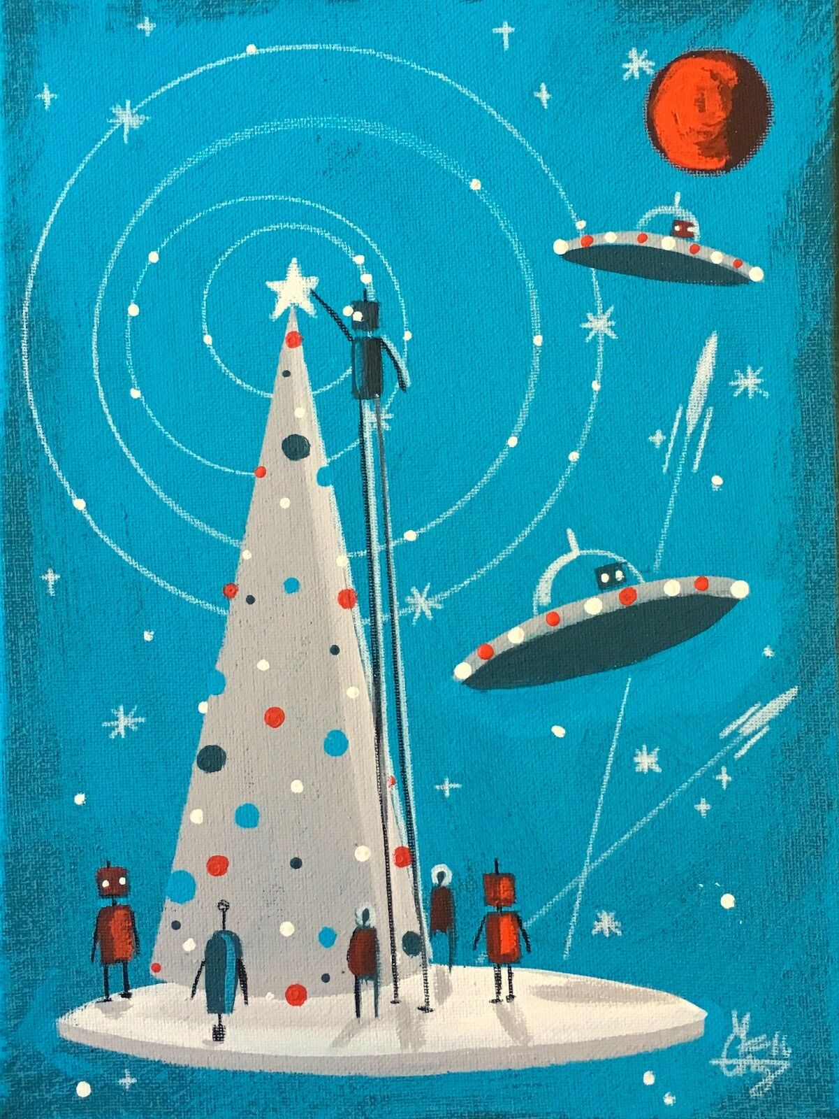 EL GATO GOMEZ RETRO VINTAGE CHRISTMAS HOLIDAY MID CENTURY OUTER SPACE ROBOT 50'S
