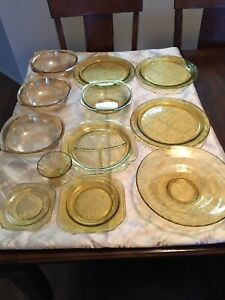 Stunting Assortment Amber Yellow Depression Glassware