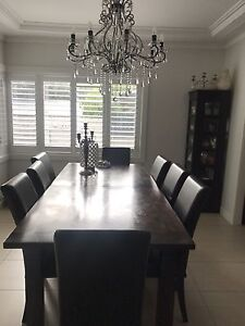 Dining table and 8 leather chairs Sans Souci Rockdale Area Preview