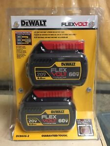 NEW DEWALT FLEXVOLT 20V/60V 6.0AH BATTERY (2 PACK)