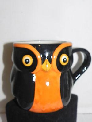 Estate Halloween Black & Orange Owl Mug for Drinking or Candy Decor LOOK Cute! (Orange Drinks For Halloween)