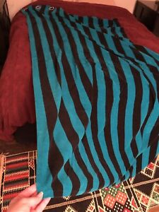 2 curtain drapes velour teal blue and black pinstriped