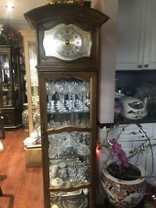 Grandfather clock style curio display glass shelves