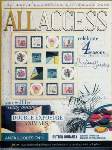 All Access VIP SEPTEMBER 2018 Anita Goodesign Machine Embroidery Designs CD