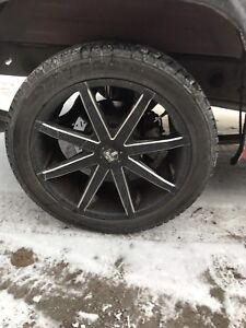 "20"" DUB RIMS 6x139.7 (6x5.5) WITH TIRES"