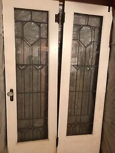 Antique, leaded 1930's  French doors with beveled glass