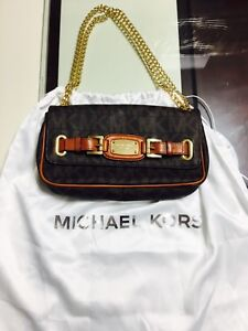 Michael Kors Brown Small Shoulder Clutch Bag Chain Strap