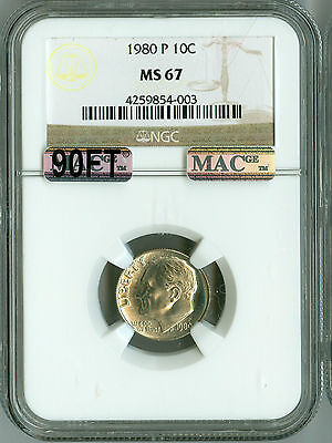 Click now to see the BUY IT NOW Price! 1980 P NGC MS67 MAC PQ 90 FT ROOSEVELT DIME FINEST REGISTRY POP 29,VERY