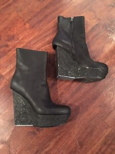 ACNE hydro lea cork wedge ankle boots size 40