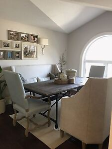 Restoration Hardware dining table and benches