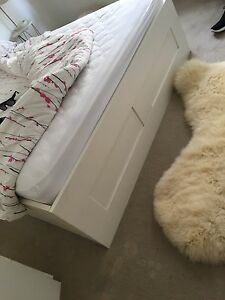 White IKEA queen bed with drawers Woolloomooloo Inner Sydney Preview