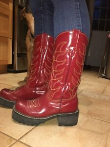 Red leather cowboy boots by John Fluevog