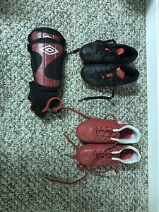 Soccer cleats and chin pads