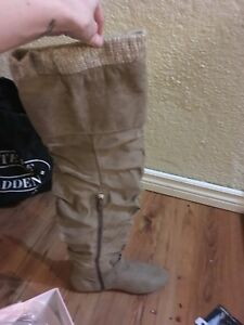 Beige suede thigh high boots