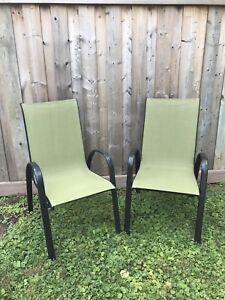 2 outdoor sling chairs