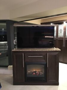 TV lift cabinet with electric fireplace (TV INCLUDED)