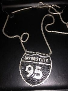 MENS CUSTOM I95 PENDANT AND CHAIN sterling silver