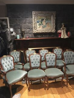 Set Of 8 French Victorian Antique Hamptons Blue Velvet Dining Chairs