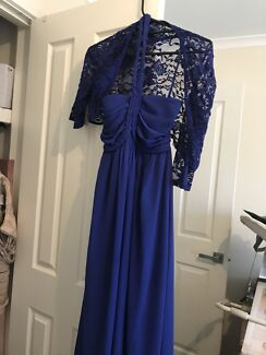 Size 8 royal blue dress with a lace shawl