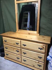 Solid pine dresser with mirror