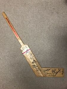 Autographed old timers stick hull, hawerchuk HOF
