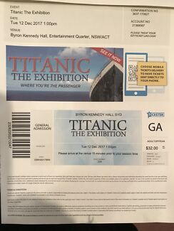 TITANIC EXHIBITION TICKET  #229 for DEC 12th 1pm