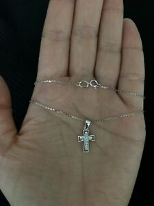 White 14k Gold Cross with the white stones