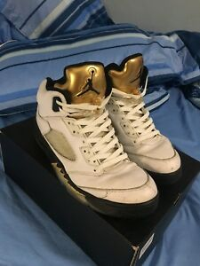 Jordan Retro 5 Olympic/Gold Coin (SIZE 10)