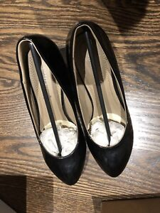 Women leather heel, black, size 7/38/240