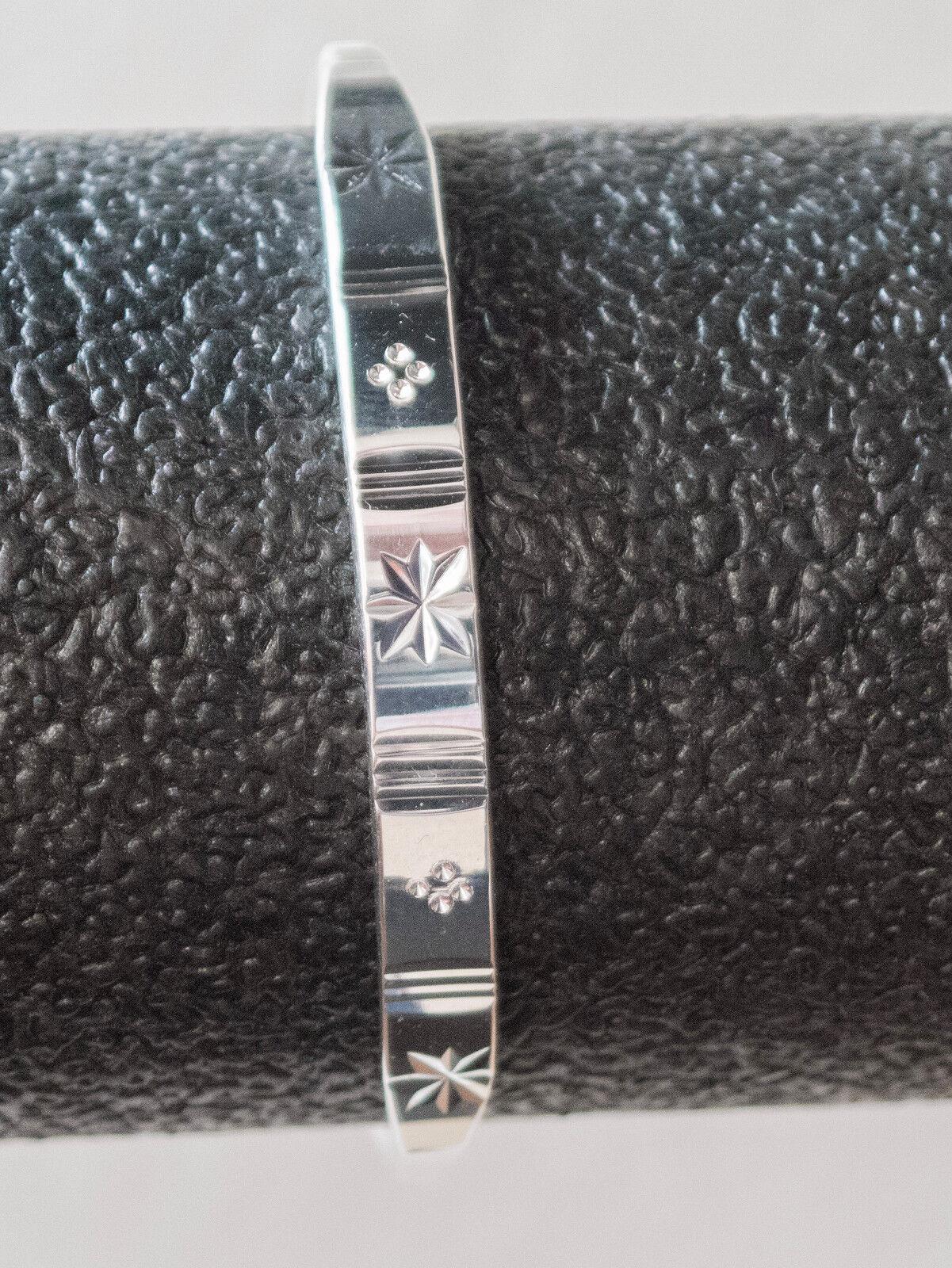 """Armreif """"Sterne"""" poliert Feinsilber 999 ca. 20 g Armband verstellbar A09"""