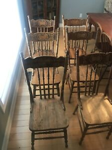 Vintage Antique Pressback Dining Chairs