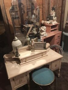 Antique Unique Wooden Vanity Distressed with metal stool