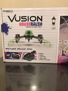 Racing drone with monitor and headset