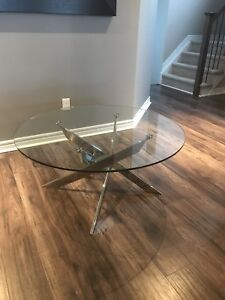 Round Glass Coffee Table - LIKE NEW