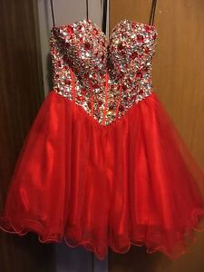 Alyce B'Dazzle red strapless/short dress (size 2)