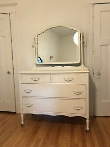 Vintage Classic White Armoire/Drawer with Mirror