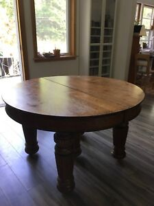 Solid Oak Antique Dining Table, $475.00