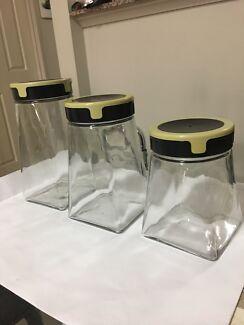 Set of 3 glass cookie jars with lids, moccona jars