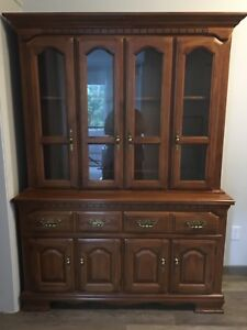 Solid wood buffet hutch & dining table & chairs