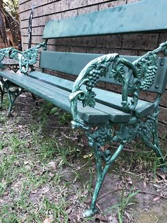 French Bench Garden Vintage Outdoor Seat Shabby Chic Cast Iron Chair.