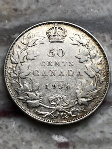 1934 Beautiful Canadian Silver 50 Cent Coin - Nice Grade