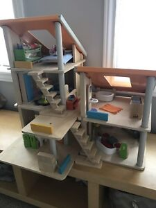 Plan Toys Chalet Dollhouse, Loads of Extra Furniture & Family