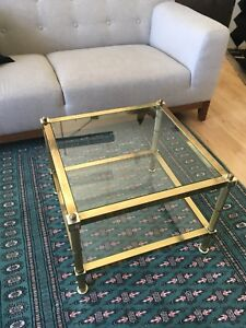 Vintage coffee tables. Glass, brass.