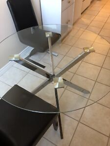 Dining Table with 2 black chairs
